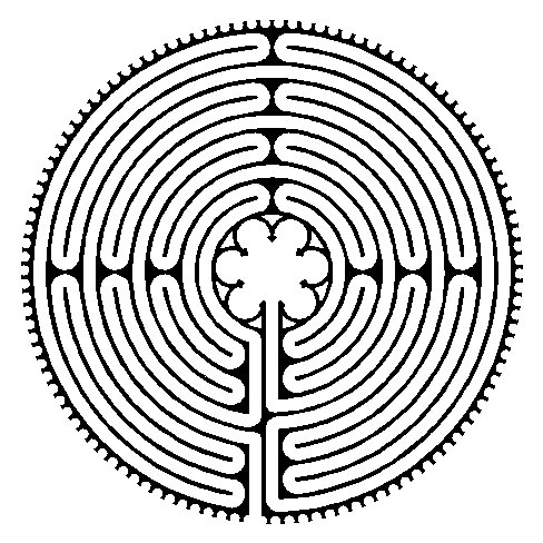 Accurate line drawing of the Chartres labyrinth.