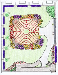 Design drawing of memorial garden with labyrinth.