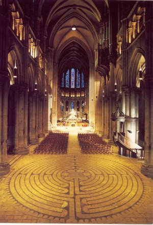Gorgeous photo by Sonia Halliday of the interior of Chartres Cathedral.