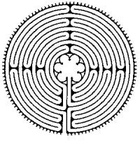 "Drawing of the ""pure"" Chartres labyrinth design."