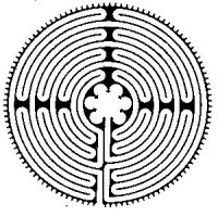 Drawing of the Veriditas variation of the Chartres labyrinth pattern.