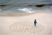 Annette Reynolds walking the labyrinth.